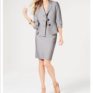 Le Suit Three Button Printed Skirt Suit